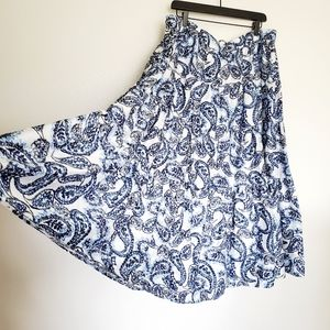 NWT paisley peasant circle skirt blue white purple